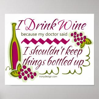 Bebo cita divertida del vino póster