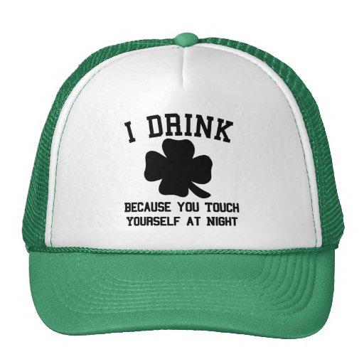 Bebo porque usted se toca en la noche gorros bordados