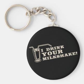 Bebo su milkshake allí seré sangre llavero redondo tipo pin