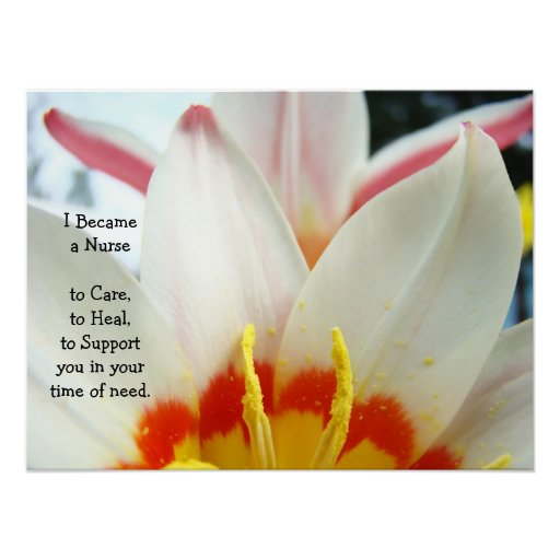 Became a Nurse art prints Care Heal Support Tulips Print