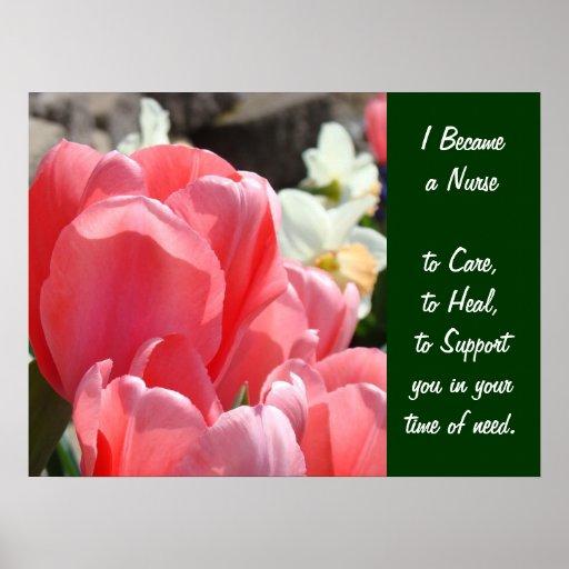 Became a Nurse art prints Pink Tulips Care Healing Print