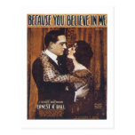 Becase You Believe in Me Vintage Songbook Cover Postcard