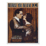 Becase You Believe in Me Vintage Songbook Cover Poster