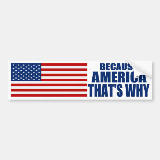 BECAUSE AMERICA THAT'S WHY Bumper Sticker