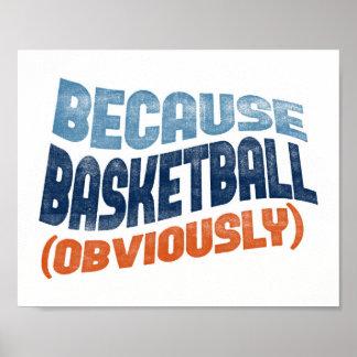 Because Basketball Poster - Funny Basketball Art