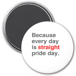 Because every day is Straight Pride day - 3 Inch Round Magnet