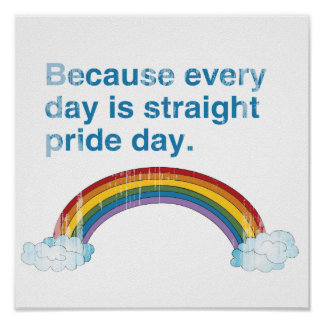 Because every day is Straight Pride day distressed Poster