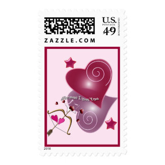 Because I love You, glossy hearts & text Stamp