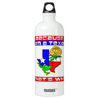 Because I'm A Texan That's Why Yellow Rose Aluminum Water Bottle