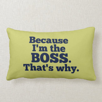 Because I'm the boss, that's why. Lumbar Pillow
