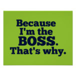 Because I'm the boss, that's why. Poster