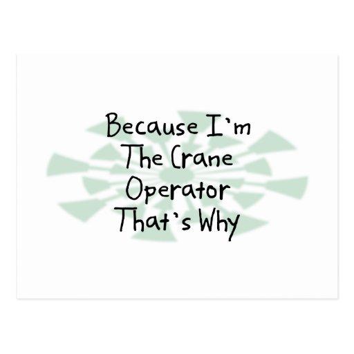 Because I'm the Crane Operator Postcard