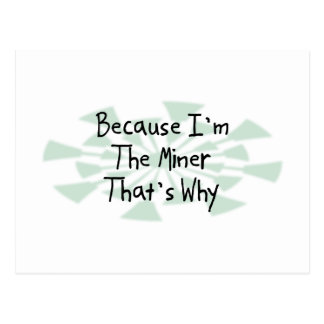 Because I'm the Miner Postcard