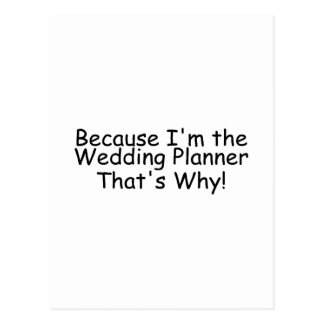 Because Im The Wedding Planner Thats Why Postcard