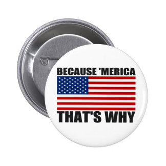 BECAUSE 'MERICA THAT'S WHY Button Pin