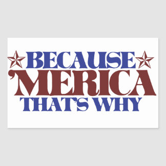 Because MERICA that's why Rectangular Sticker