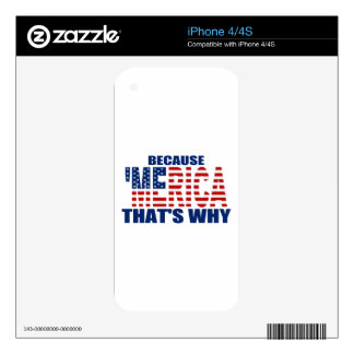 BECAUSE 'MERICA THAT'S WHY iPhone 4S DECALS