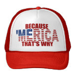 BECAUSE 'MERICA THAT'S WHY Trucker Hat (red)