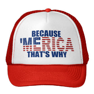 BECAUSE 'MERICA THAT'S WHY Trucker Hat (red/blue)