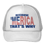BECAUSE 'MERICA THAT'S WHY Trucker Hat (white)