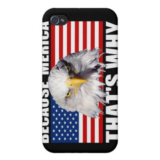 BECAUSE 'MERICA THAT'S WHY US Flag iPhone 4 Case
