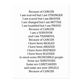 Because of Cancer Postcard