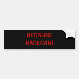 BECAUSE RACECAR! BUMPER STICKER