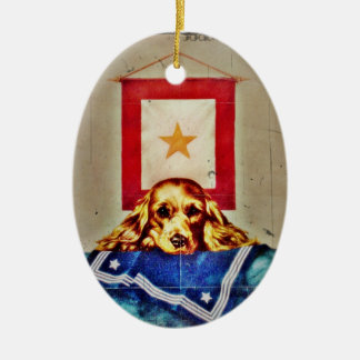 Because Somebody Talked a Sad Pup WWII Ceramic Ornament
