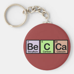 Basic Button Keychain with Becca made of Elements design