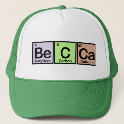 Trucker Hat with Becca made of Elements design