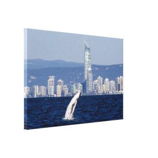 Becerro de la ballena jorobada que viola paraíso impresión en lienzo
