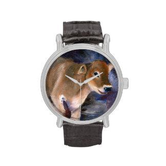 Becerro del suizo de Brown Relojes De Pulsera