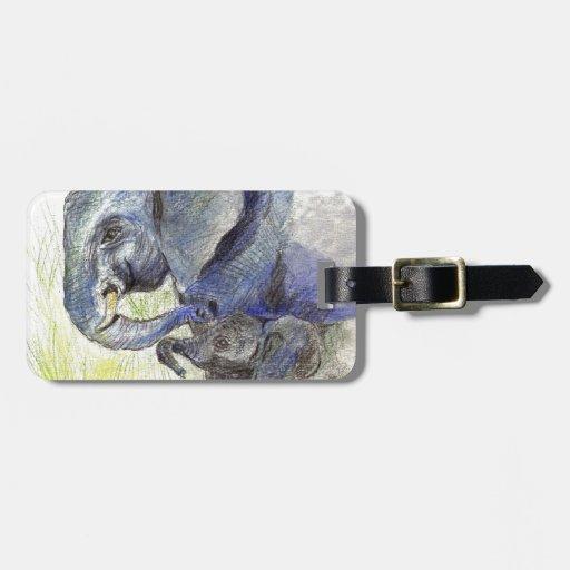 Becerro y madre, lápiz del elefante de la acuarela etiquetas maleta