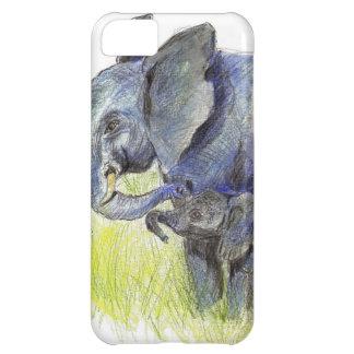 Becerro y madre, lápiz del elefante de la acuarela