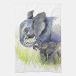 Becerro y madre, lápiz del elefante de la acuarela toallas de cocina