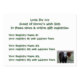 Becerros del ganado - registro de regalos de la tarjetas de visita grandes