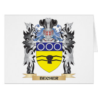 Becher Coat of Arms - Family Crest Large Greeting Card