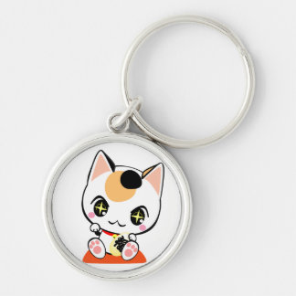 Beckoning cat-招ki cat Silver-Colored round keychain