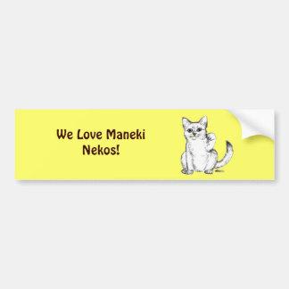 Beckoning Kitty Cat Maneki Neko Bumper Sticker