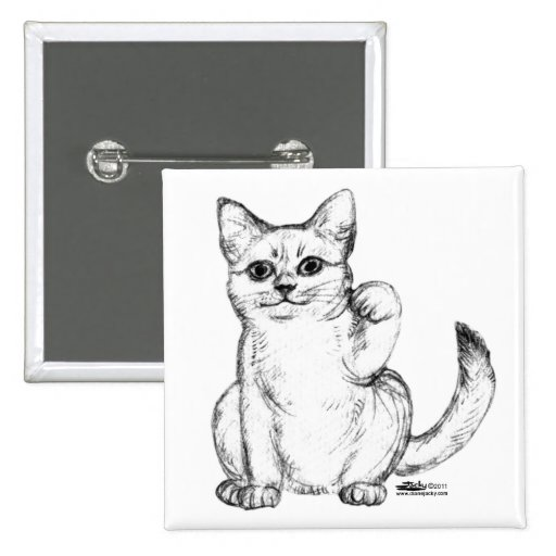Beckoning Kitty Cat Maneki Neko Pins