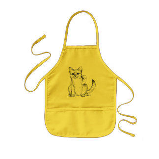 Beckoning Kitty Cat Maneki Neko Kids' Apron