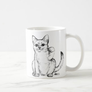 Beckoning Kitty Cat Maneki Neko Coffee Mugs