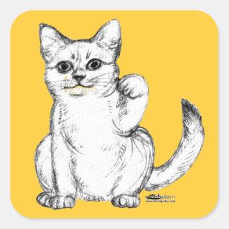 Beckoning Kitty Cat Maneki Neko Square Sticker