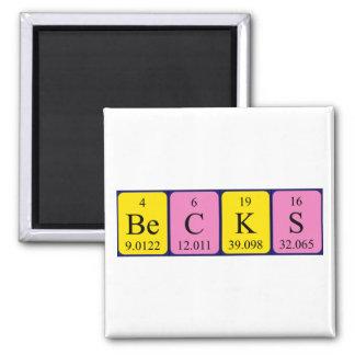 Becks periodic table name magnet