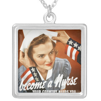 Become a nurse - Square Sterling Silver Necklace