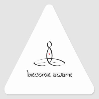 Become Aware - Black Sanskrit style Triangle Sticker