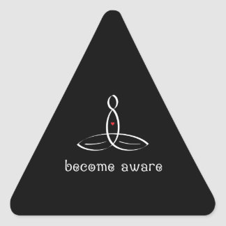 Become Aware - White Fancy style Triangle Sticker
