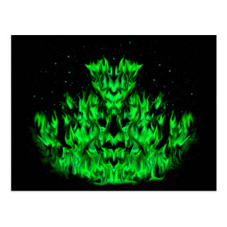 Becomes green flame monster at the starlit sky postcard
