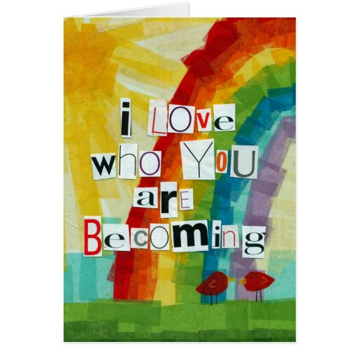 Becoming with text greeting card