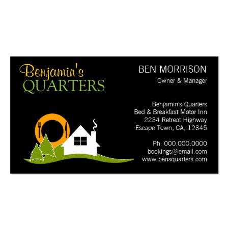 Bright Green Lodge Icon on Black Bed and Breakfast Business Cards